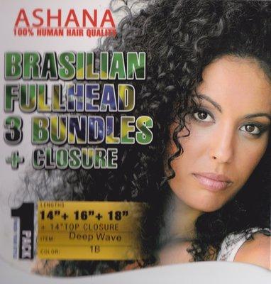 Ashana Brasilian Fullhead 3 bundles + closure Deep Wave 14/16/18 inch