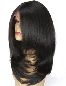 Bob L Part Yaki Straight Synthetic Lace Front Wig 16 inch